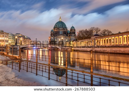 Berlin Cathedral (Berliner Dom) Long Exposure with blurred sky and river, famous landmark in Berlin City, Germany at night - stock photo