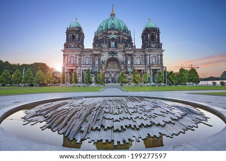 Berlin Cathedral. Image of the Berlin Cathedral during sunrise. - stock photo