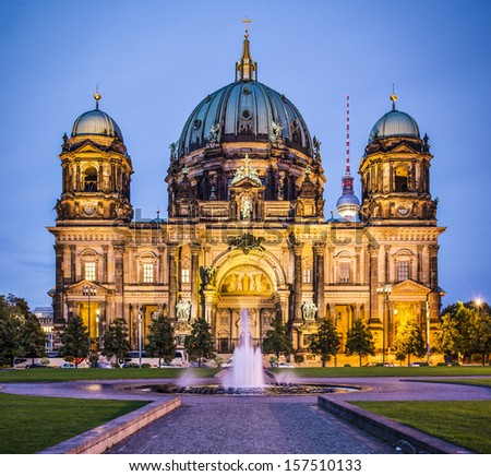 Berlin Cathedral in Berlin, Germany. The church's formation dates back to 1451. - stock photo