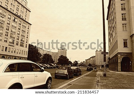 Berlin city, vintage filter, Sky in Berlin - stock photo