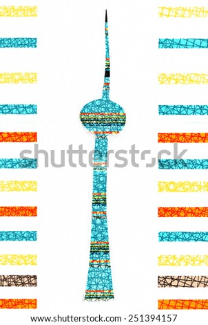 Berlin - colorful design of TV Tower, symbol of Berlin - stock photo