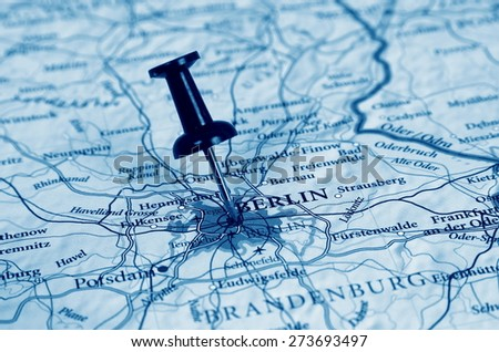 Berlin  destination in the map - stock photo