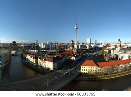 """Berlin, district Mitte, with the the """"red"""" town hall, the television tower (Alexanderplatz) and Nikolaikirche - view from south to north - stock photo"""