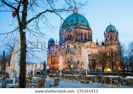 Berlin Dom by Night Nobody - stock photo