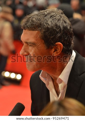 BERLIN - FEB 15: Antonio Banderas arrives for the screening of Haywire at Berlin Film Festival Feb 15, 2012, Berlin, Germany - stock photo