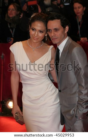 BERLIN - FEBRUARY 15:  Jennifer Lopez  and her husband, singer Marc Anthony, attend the premiere  the movie 'Bordertown' during the 57th Berlin  Film Festival  on February 15, 2007 in Berlin, Germany - stock photo