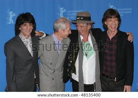 BERLIN - FEBRUARY 07: Rolling Stones singer Mick Jagger   and Keith Richards pose  at the 'Shine A Light' Photocall as part of the 58th Berlinale Film Festival  on February 7, 2008 in Berlin, Germany - stock photo