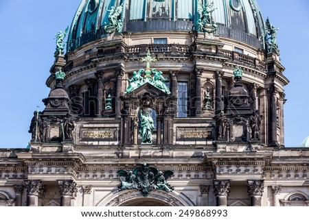BERLIN, GERMANY - APRIL 9: Berlin Cathedral (German: Berliner Dom) located on Museum Island in the Mitte borough in Berlin on April 9, 2009. The current building was finished in 1905. - stock photo