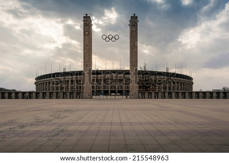 BERLIN, GERMANY, APRIL 17: Exterior view of Berlin's Olympia Stadium, built for the 1936 Summer Olympics. April 17, 2013, in Berlin, Germany - stock photo