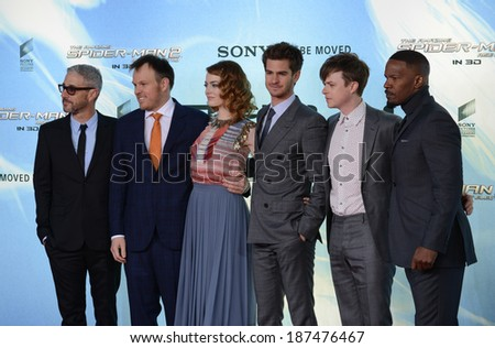"BERLIN - GERMANY - APRIL 15: Matthew Tolmach, Marc Webb, Emma Stone, Andrew Garfield, Dane DeHaan and Jamie Foxx at ""The Amazing Spider-Man 2"" premiere on April 15, 2014 in Berlin, Germany. - stock photo"