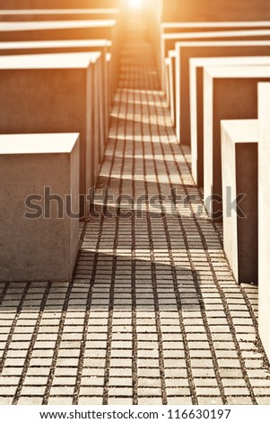 BERLIN, GERMANY - APRIL 20: The Holocaust Memorial to the Murdered Jews of Europe in Berlin on April 20, 2012, designed by Peter Eisenman and Buro Happold. - stock photo