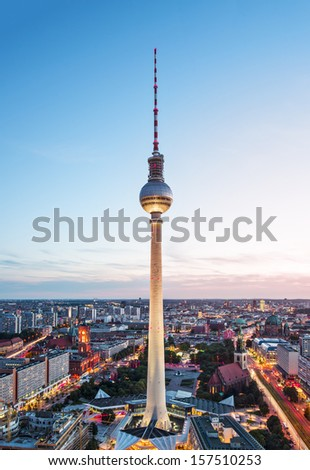 Berlin, Germany at the Berlin TV Tower. - stock photo
