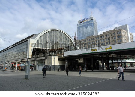 BERLIN, GERMANY - AUGUST 30, 2013: A photograph of famous Alexanderplatz and train station in Berlin, Germany, on August 30, 2013. - stock photo