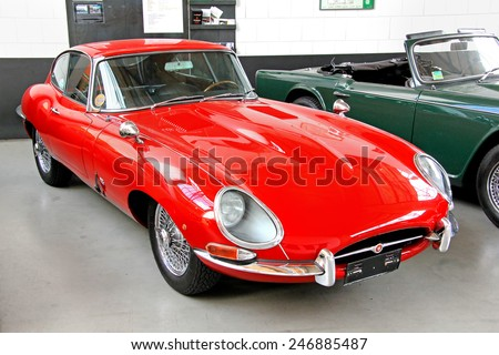 BERLIN, GERMANY - AUGUST 12, 2014: British classic vehicle Jaguar E-Type in the museum of vintage cars Classic Remise. - stock photo