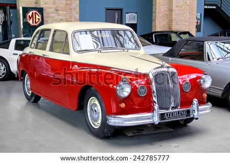 BERLIN, GERMANY - AUGUST 12, 2014: British retro car Daimler Majestic Major in the museum of vintage cars Classic Remise. - stock photo