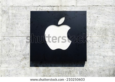 BERLIN, GERMANY- AUGUST 06,  2014: Facade detail with logo of the first Apple store in Germany, at the Kurfuerstendamm  in Berlin.  - stock photo