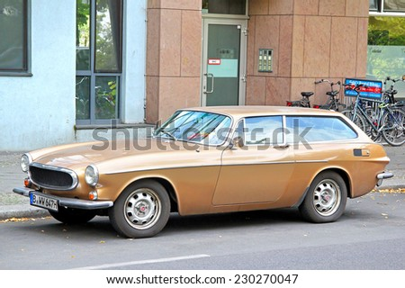 BERLIN, GERMANY - AUGUST 16, 2014: Retro vehicle Volvo 1800ES at the city street. - stock photo