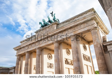 Berlin, Germany. Branderburger Tor with beautiful clouds on background - stock photo