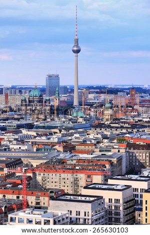 Berlin, Germany. Capital city architecture aerial view with famous TV Tower. - stock photo