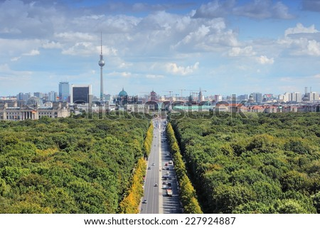 Berlin, Germany. Capital city architecture aerial view with Tiergarten park and the TV tower. - stock photo
