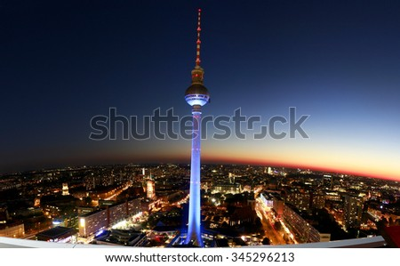 """BERLIN, GERMANY - CIRCA OCTOBER 2015: panorama: the skyline of Berlin-Mitte with the """"Fernsehturm"""" (terlevision tower). - stock photo"""