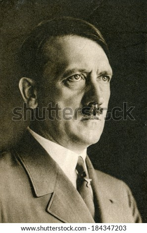 BERLIN, GERMANY, CIRCA 1939 - Vintage portrait of Adolf Hitler, leader of nazi Germany - stock photo