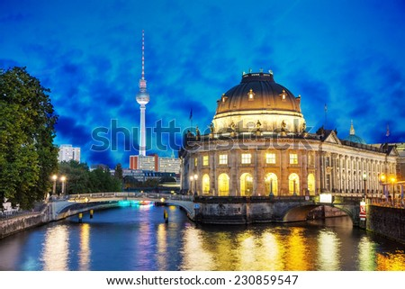 Berlin, Germany cityscape in the night after sunset - stock photo