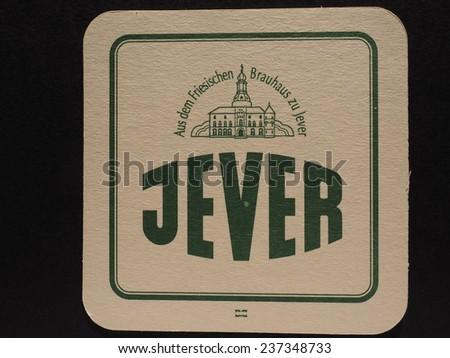 BERLIN, GERMANY - DECEMBER 11, 2014: Beermat of German beer Jever - stock photo
