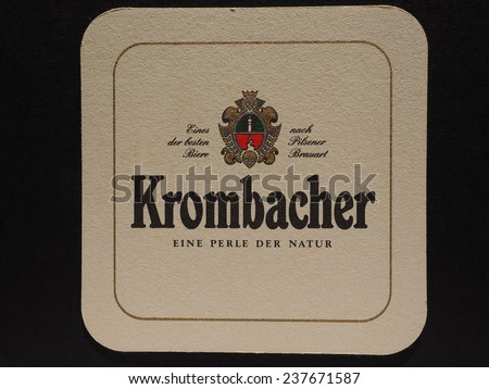 BERLIN, GERMANY - DECEMBER 11, 2014: Beermat of German beer Krombacher - stock photo
