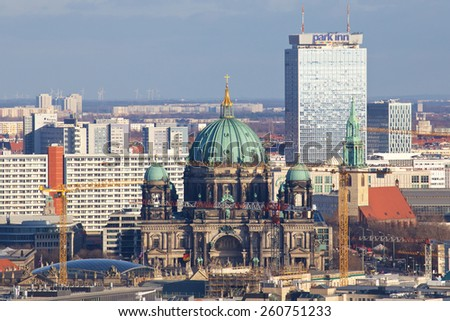BERLIN, GERMANY - DECEMBER 27, 2013: Downtown Berlin cityscape in Berlin, Germany on December 27, 2013. - stock photo