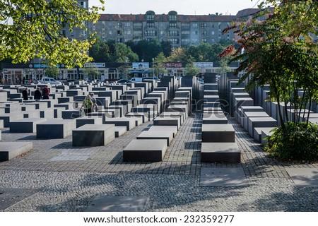 BERLIN, GERMANY/EUROPE - SEPTEMBER 15 : Jewish War Memorial in Berlin Germany on September 15, 2014. Unidentified people. - stock photo