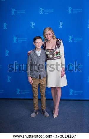 Berlin, Germany - February 12, 2016 -Actor Jaeden Lieberher and actress Kirsten Dunst attend the 'Midnight Special' photo call during the 66th Berlinale International Film Festival - stock photo