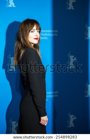 BERLIN, GERMANY - FEBRUARY 11: Actress Dakota Johnson, 'Fifty Shades of Grey' premiere. 65th Berlinale International Film Festival at Zoo Palast on February 11, 2015 in Berlin, Germany.  - stock photo