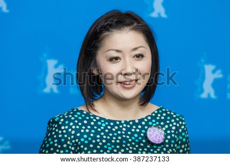 """Berlin, Germany - February 13, 2016 - actress Kaori Momoi,  attends the photocall """"Grusse aus Fukushima"""" (Fukushima, mon amour) premiere during the 66th Berlinale International Film Festival - stock photo"""
