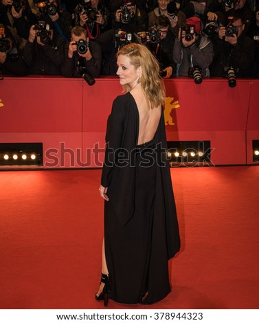 Berlin, Germany - February 16, 2016  - Actress Laura Linney attends the 'Genius' premiere during the 66th Berlinale International Film Festival - stock photo