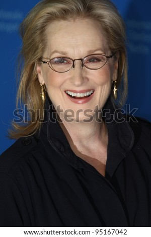 BERLIN, GERMANY - FEBRUARY 14: Actress Meryl Streep attends 'The Iron Lady' Photocall during of the 62nd Berlin International Film Festival at the Grand Hyatt on February 14, 2012 in Berlin, Germany. - stock photo