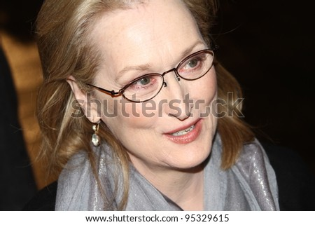 BERLIN, GERMANY - FEBRUARY 14: Actress Meryl Streep attends 'The Iron Lady' Premiere during of the 62nd Berlin International  Festival at the Berlinale Palast on February 14, 2012 in Berlin, Germany. - stock photo