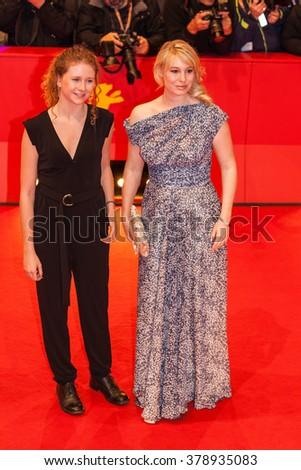 Berlin, Germany - February 17, 2016  - Actresses Helene Reingaard Neumann and Martha Sofie Wallstrom attend  'The Commune' (Kollektivet) premiere during the 66th Berlinale International Film Festival - stock photo