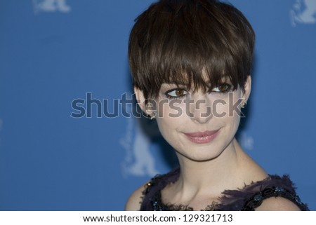 BERLIN, GERMANY - FEBRUARY 09: Anne Hathaway attends the 'Les Miserables' Photocall during the 63rd Berlinale  Film Festival at Grand Hyatt Hotel on February 9, 2013 in Berlin, Germany. - stock photo