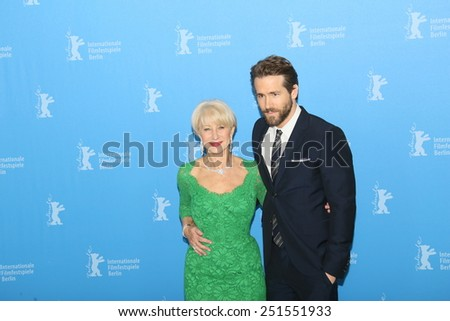 BERLIN, GERMANY - FEBRUARY 09:  Helen Mirren, Ryan Reynolds attend the 'Woman in Gold' photocall during the 65th Berlinale Festival at Grand Hyatt Hotel on February 9, 2015 in Berlin, Germany. - stock photo