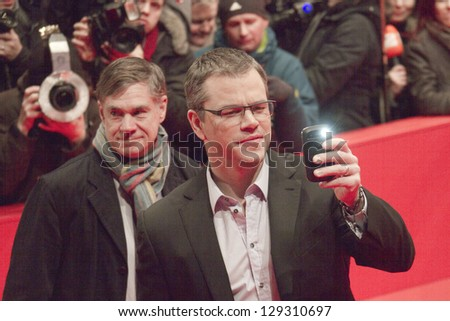 BERLIN, GERMANY - FEBRUARY 08:  Matt Damon, Gus Van Sant attend 'Promised Land' Premiere during the 63rd Berlinale  Film Festival at Berlinale Palast on February 8, 2013 in Berlin, Germany. - stock photo