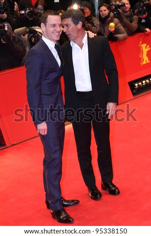 BERLIN, GERMANY - FEBRUARY 15: Michael Fassbender and Antonio Banderas attend the 'Haywire' Premiere during  of the  Berlin Festival at the Berlinale Palast on February 15, 2012 in Berlin, Germany. - stock photo