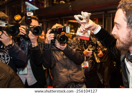 BERLIN, GERMANY - FEBRUARY 14: P. Larrain, silver bear, movie 'El Club', Closing Ceremony. 65th Berlinale International Film Festival at Berlinale Palace on February 14, 2015 in Berlin, Germany - stock photo