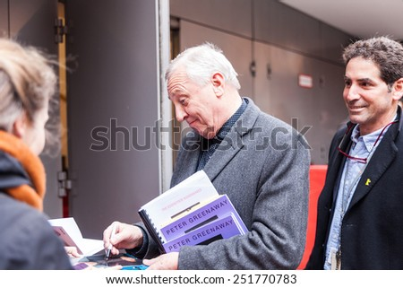 """Berlin, Germany - February 11, 2015: Peter Greenaway making autographs before the press conference of the film """"Eisemstein in Guanajuato"""" during 65th Berlinale Film Festival - stock photo"""