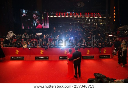 BERLIN, GERMANY - FEBRUARY 13: Richard Madden, Jenna-Louise Coleman attend the 'Cinderella' premiere during the 65th Berlinale Festival at Berlinale Palace on February 13, 2015 in Berlin, Germany. - stock photo
