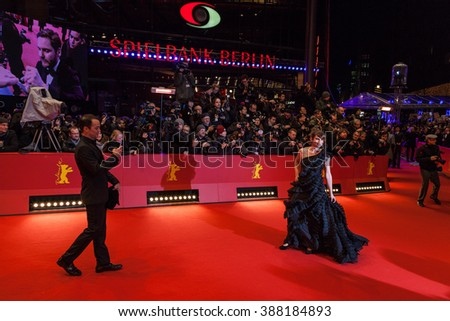 Berlin, Germany - February 11, 2016 -the guest attends the 'Hail, Caesar!' premiere during the 66th Berlinale International Film Festival - stock photo