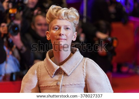 Berlin, Germany - February 11, 2016 -Tilda Swinton  attends the 'Hail, Caesar!' premiere during the 66th Berlinale International Film Festival - stock photo