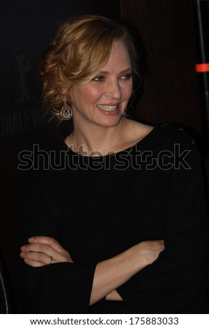 BERLIN, GERMANY - FEBRUARY 09: Uma Thurman attends the 'Nymphomaniac Volume I' (long version) photocall during 64th Berlinale Film Festival at Hyatt Hotel on February 9, 2014 in Berlin, Germany. - stock photo