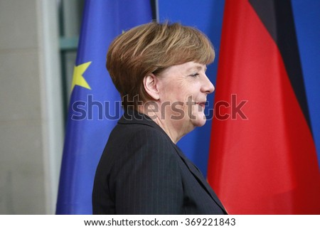 BERLIN, GERMANY - JANUARY 29, 2016: German Chancellor Angela Merkel at a press conference after a meeting with the Italian Prime Minister in the Chanclery. - stock photo