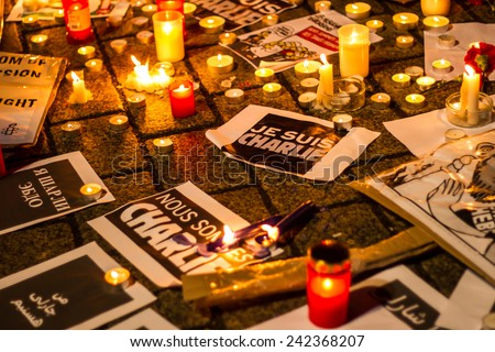 BERLIN, GERMANY - JANUARY 7TH, 2015: March against Charlie Hebdo magazine terrorism attack, on January 7th, 2015,  in front of France Embassy in Berlin, Germany  - stock photo